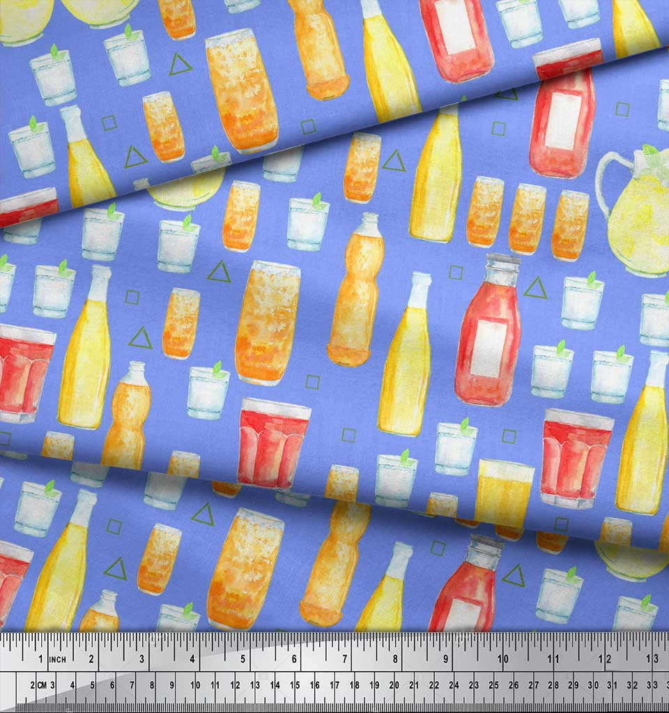 Soimoi-Blue-Cotton-Poplin-Fabric-Bottle-amp-Glass-Kitchen-Fabric-Prints-jOC thumbnail 3