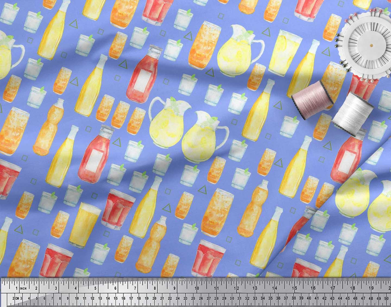 Soimoi-Blue-Cotton-Poplin-Fabric-Bottle-amp-Glass-Kitchen-Fabric-Prints-jOC thumbnail 4