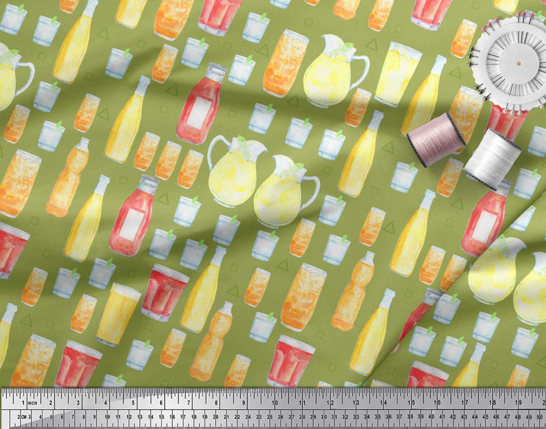 Soimoi-Green-Cotton-Poplin-Fabric-Bottle-amp-Glass-Kitchen-Print-Fabric-yul thumbnail 3