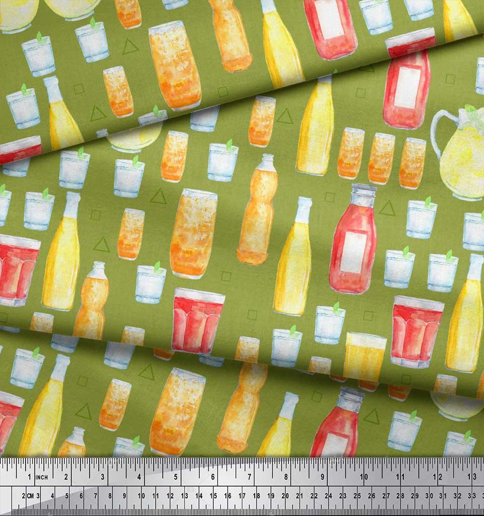 Soimoi-Green-Cotton-Poplin-Fabric-Bottle-amp-Glass-Kitchen-Print-Fabric-yul thumbnail 4