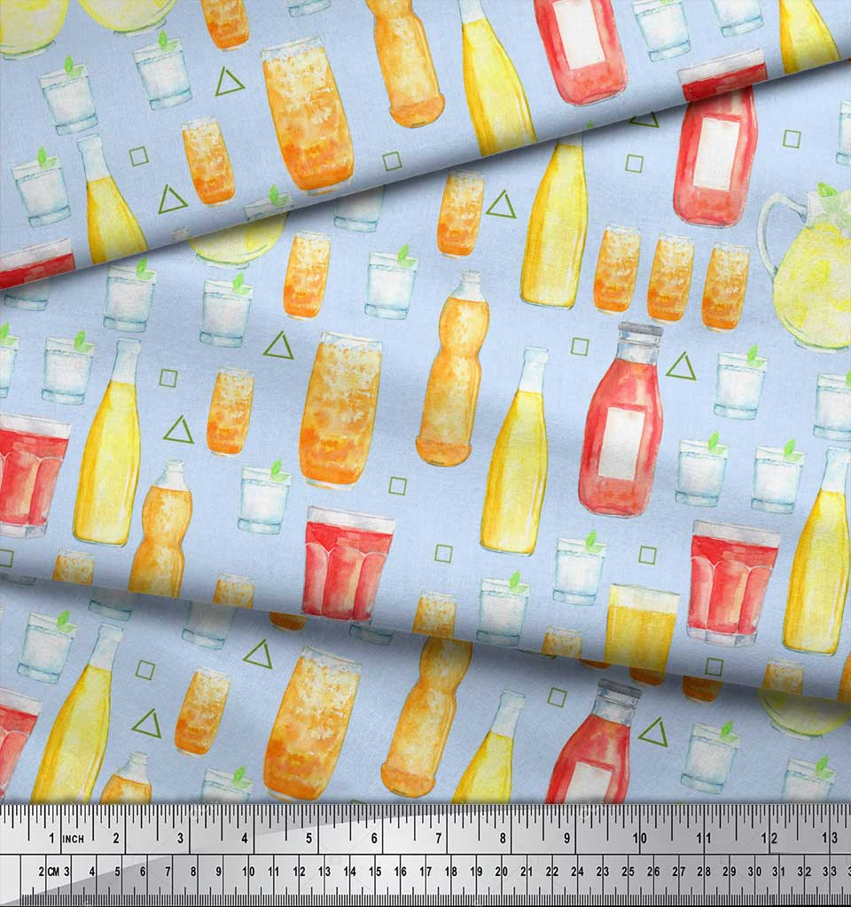 Soimoi-Blue-Cotton-Poplin-Fabric-Bottle-amp-Glass-Kitchen-Printed-pmM thumbnail 4