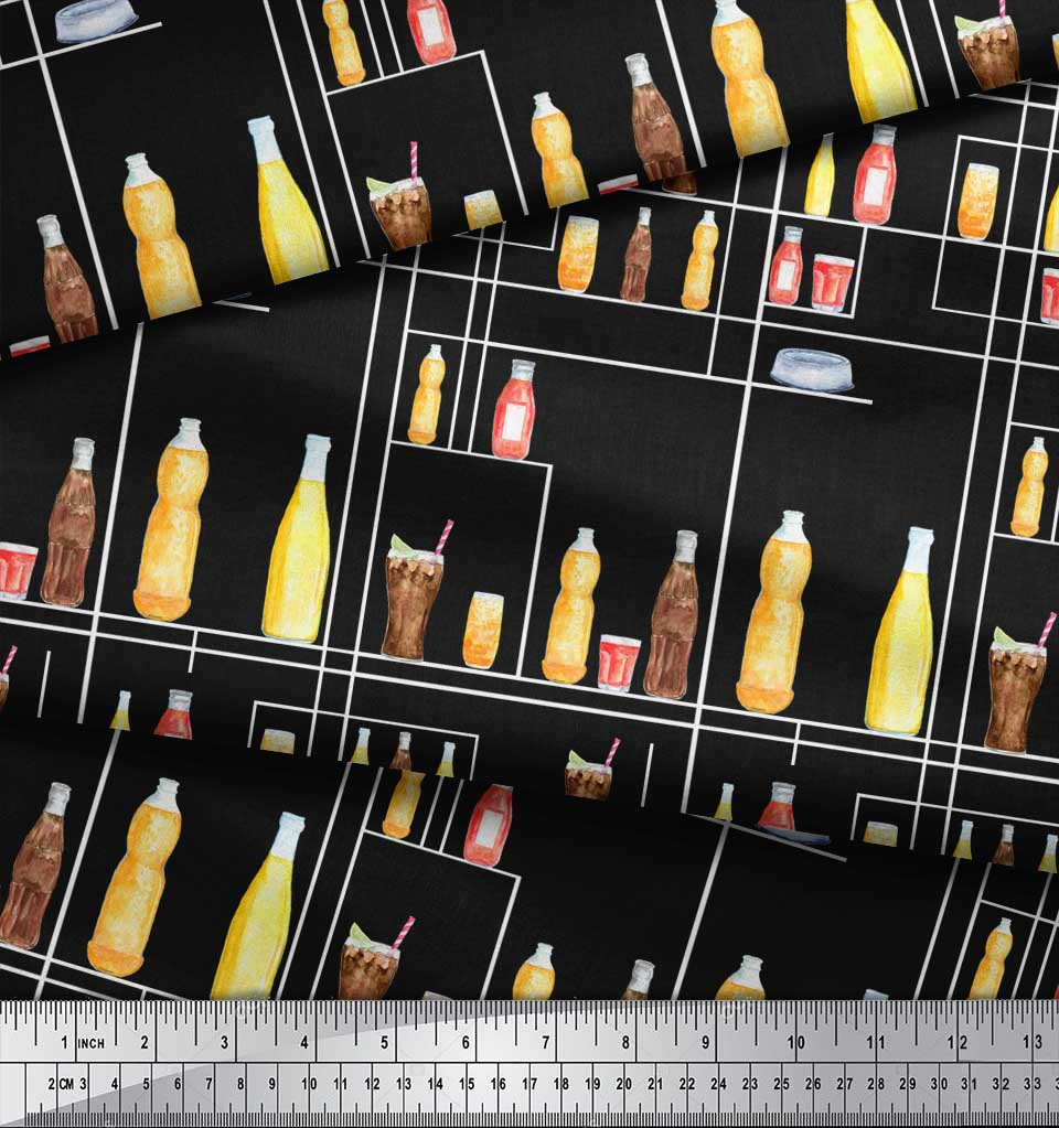 Soimoi-Black-Cotton-Poplin-Fabric-Bottle-amp-Glass-Kitchen-Print-Fabric-TBx thumbnail 3