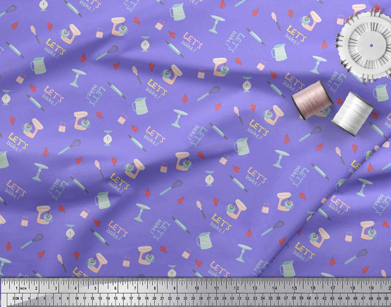 Soimoi-Purple-Cotton-Poplin-Fabric-Lets-Bake-Kitchen-Print-Sewing-xUR thumbnail 3