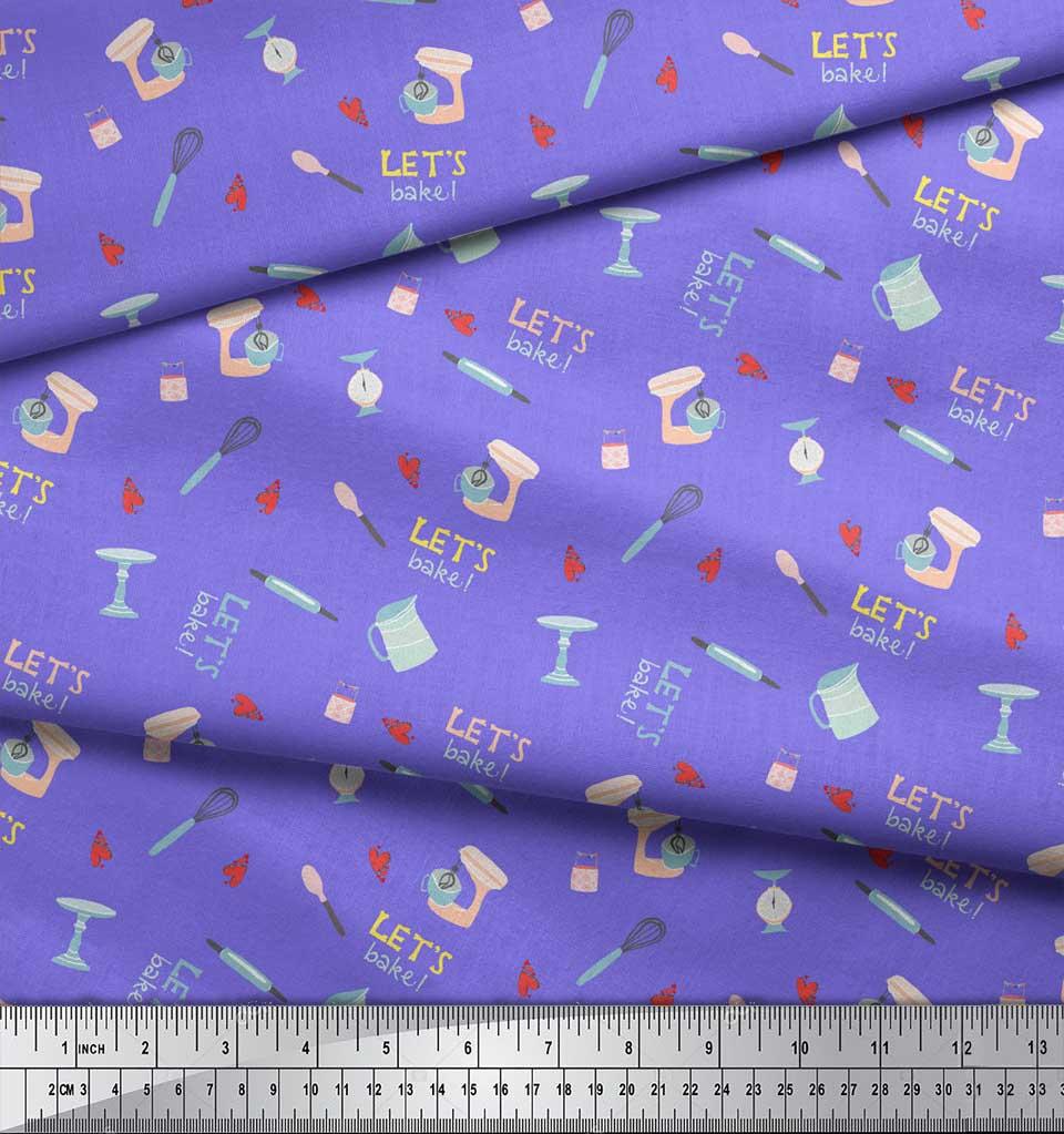 Soimoi-Purple-Cotton-Poplin-Fabric-Lets-Bake-Kitchen-Print-Sewing-xUR thumbnail 4