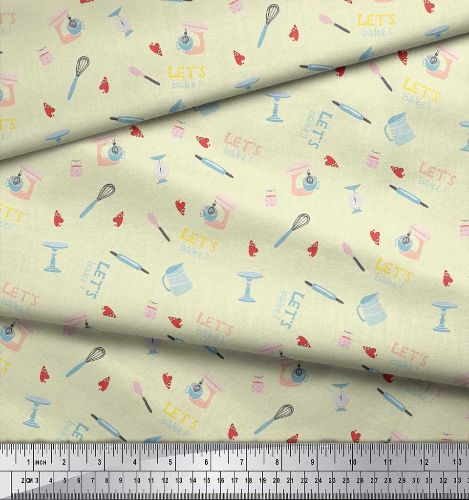 Soimoi-Yellow-Cotton-Poplin-Fabric-Lets-Bake-Kitchen-Print-Fabric-cEg thumbnail 3