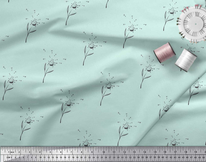 Soimoi-Green-Cotton-Poplin-Fabric-Clove-Leaves-Print-Fabric-by-the-u2N thumbnail 4
