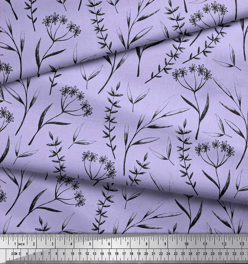Soimoi-Purple-Cotton-Poplin-Fabric-Flower-Leaves-Print-Fabric-by-QCE thumbnail 3