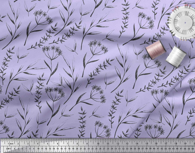 Soimoi-Purple-Cotton-Poplin-Fabric-Flower-Leaves-Print-Fabric-by-QCE thumbnail 4