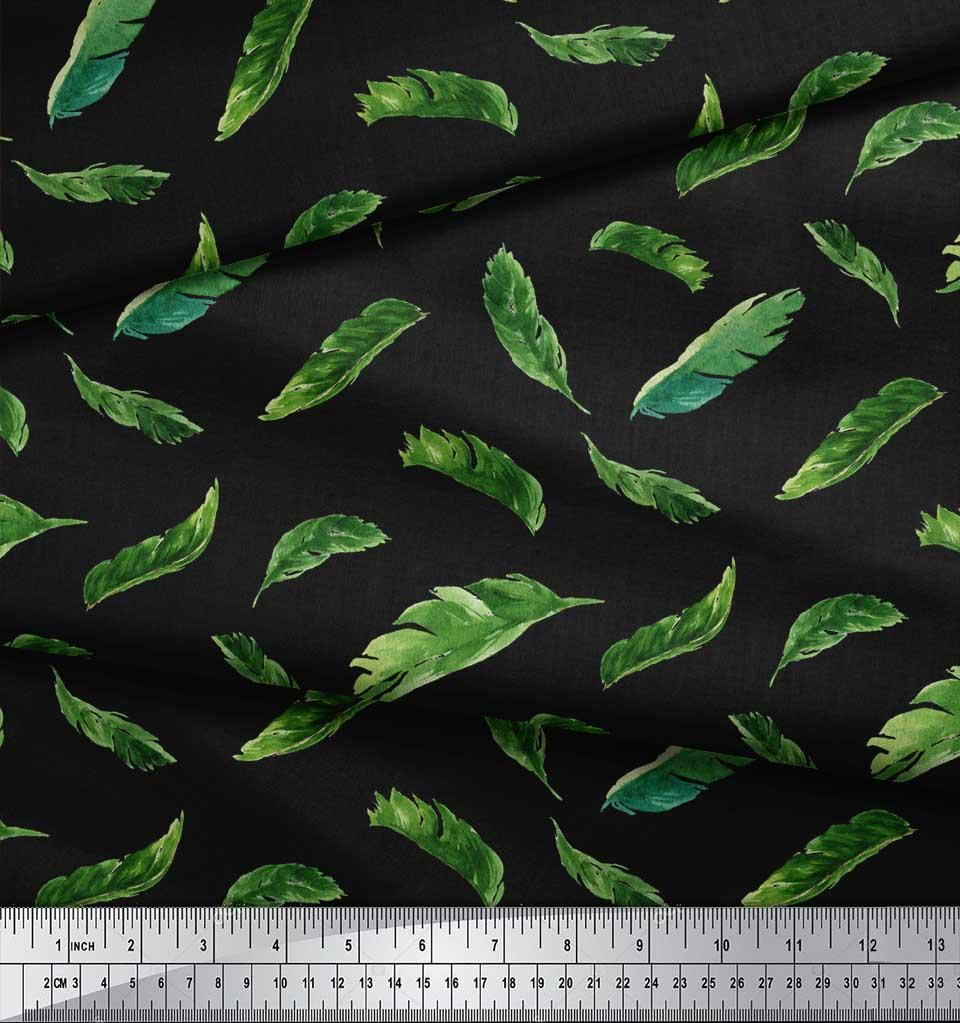Soimoi-Black-Cotton-Poplin-Fabric-Palm-Leaves-Printed-Craft-Fabric-iou thumbnail 3