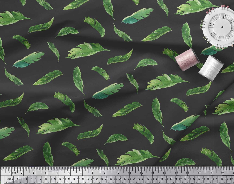 Soimoi-Black-Cotton-Poplin-Fabric-Palm-Leaves-Printed-Craft-Fabric-iou thumbnail 4