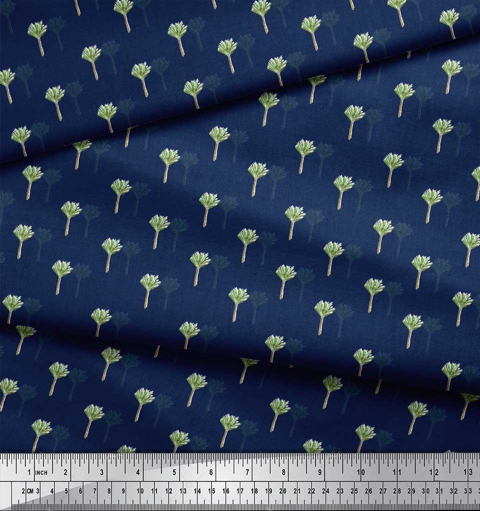 Soimoi-Blue-Cotton-Poplin-Fabric-Palm-Leaves-Print-Fabric-by-Yard-wsG thumbnail 4