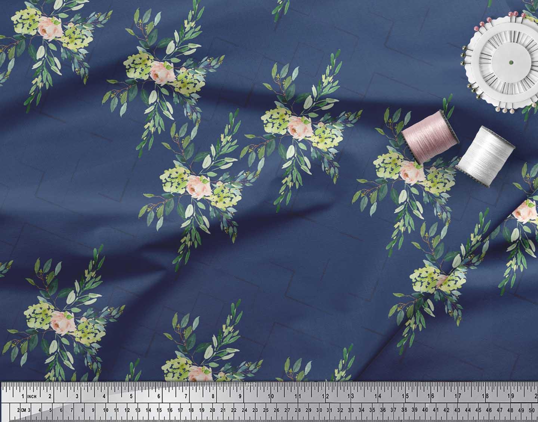 Soimoi-Blue-Cotton-Poplin-Fabric-Square-amp-Leaves-Print-Fabric-by-vuP thumbnail 3