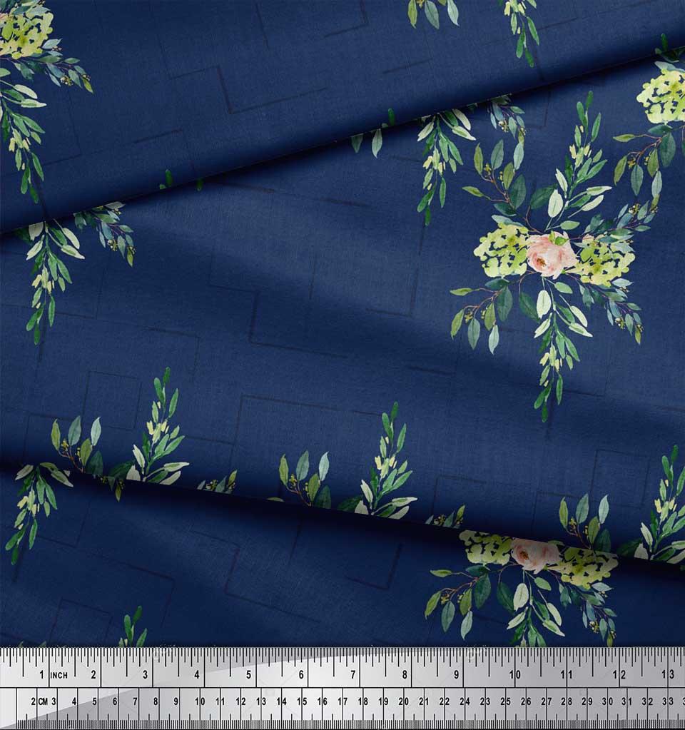Soimoi-Blue-Cotton-Poplin-Fabric-Square-amp-Leaves-Print-Fabric-by-vuP thumbnail 4