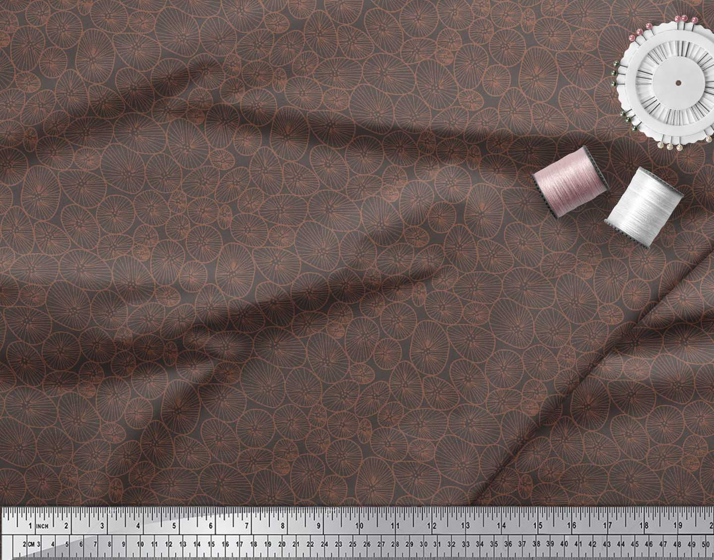 Soimoi-Brown-Cotton-Poplin-Fabric-Lotus-Leaves-Fabric-Prints-By-Otv thumbnail 3