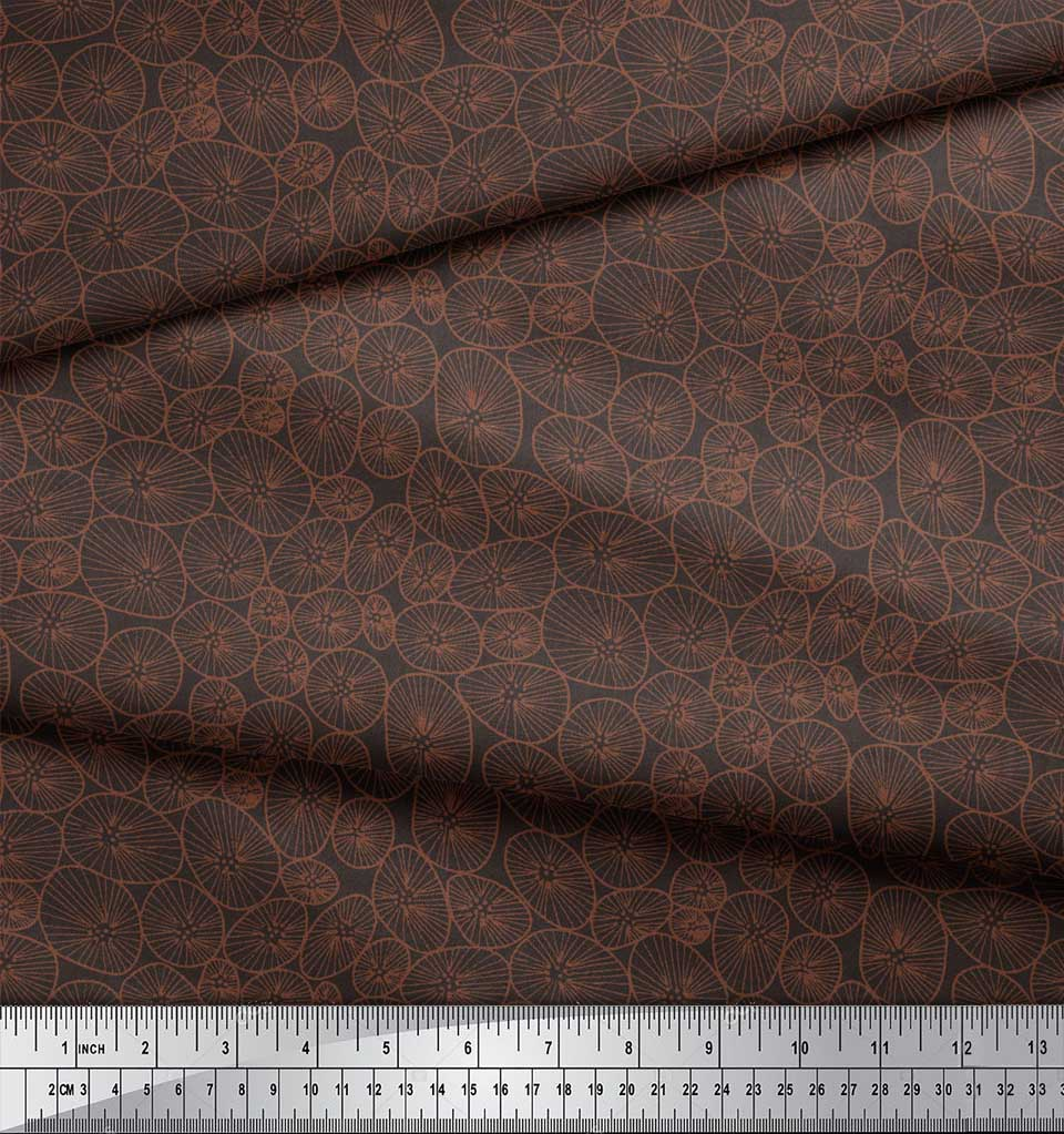 Soimoi-Brown-Cotton-Poplin-Fabric-Lotus-Leaves-Fabric-Prints-By-Otv thumbnail 4