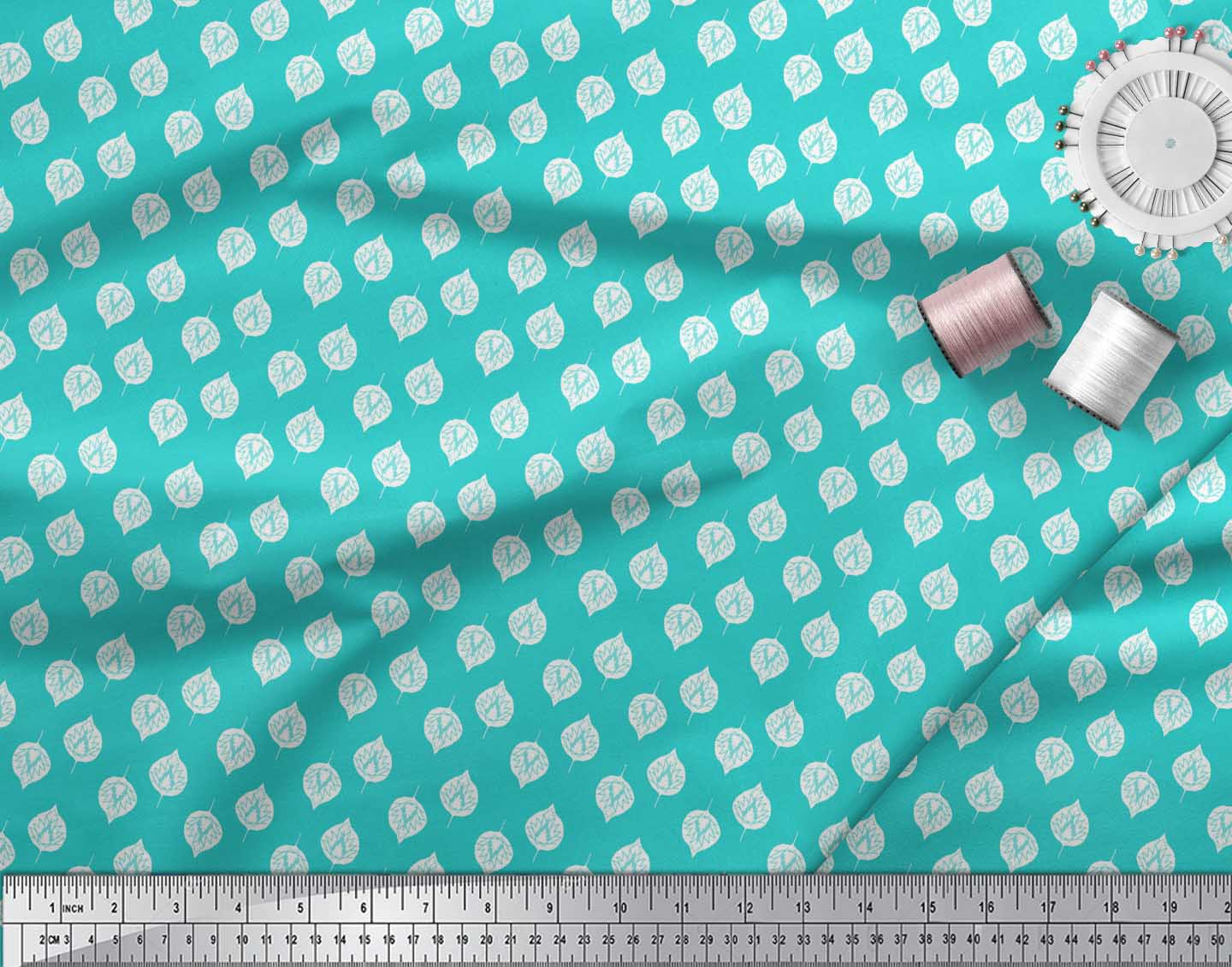 Soimoi-Green-Cotton-Poplin-Fabric-Rose-Leaves-Printed-Craft-Fabric-ly6 thumbnail 4