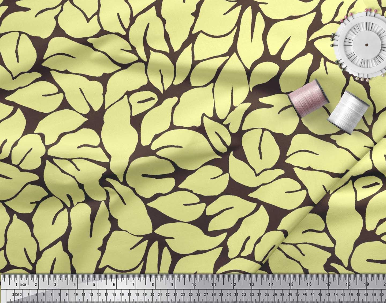 Soimoi-Brown-Cotton-Poplin-Fabric-Basil-Leaves-Printed-Fabric-1-saB thumbnail 3
