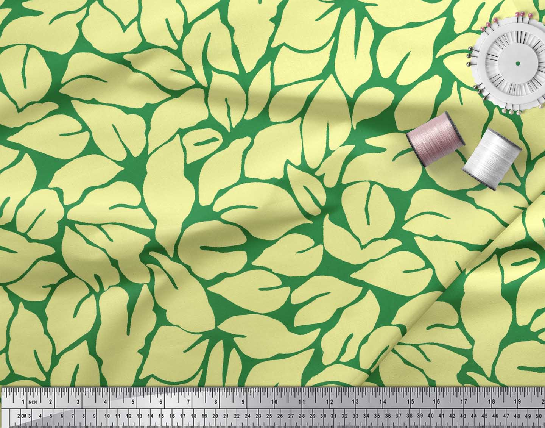 Soimoi-Green-Cotton-Poplin-Fabric-Basil-Leaves-Printed-Fabric-1-TaE thumbnail 3