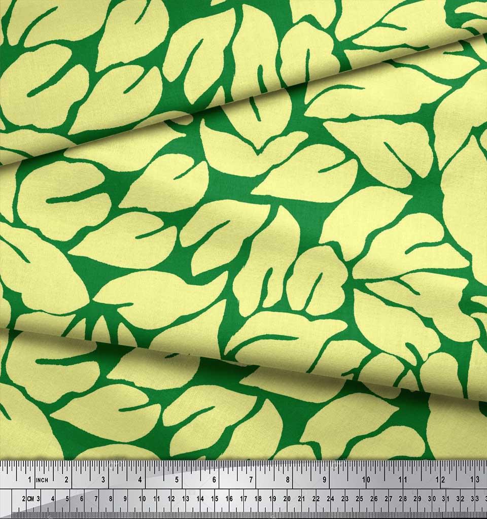 Soimoi-Green-Cotton-Poplin-Fabric-Basil-Leaves-Printed-Fabric-1-TaE thumbnail 4