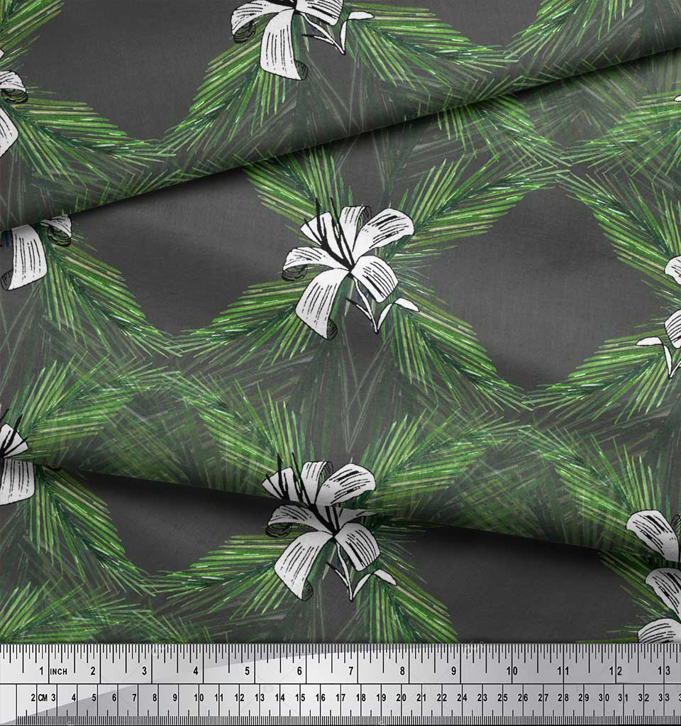 Soimoi-Gray-Cotton-Poplin-Fabric-Pine-amp-Leaves-Printed-Craft-Fabric-27p thumbnail 3