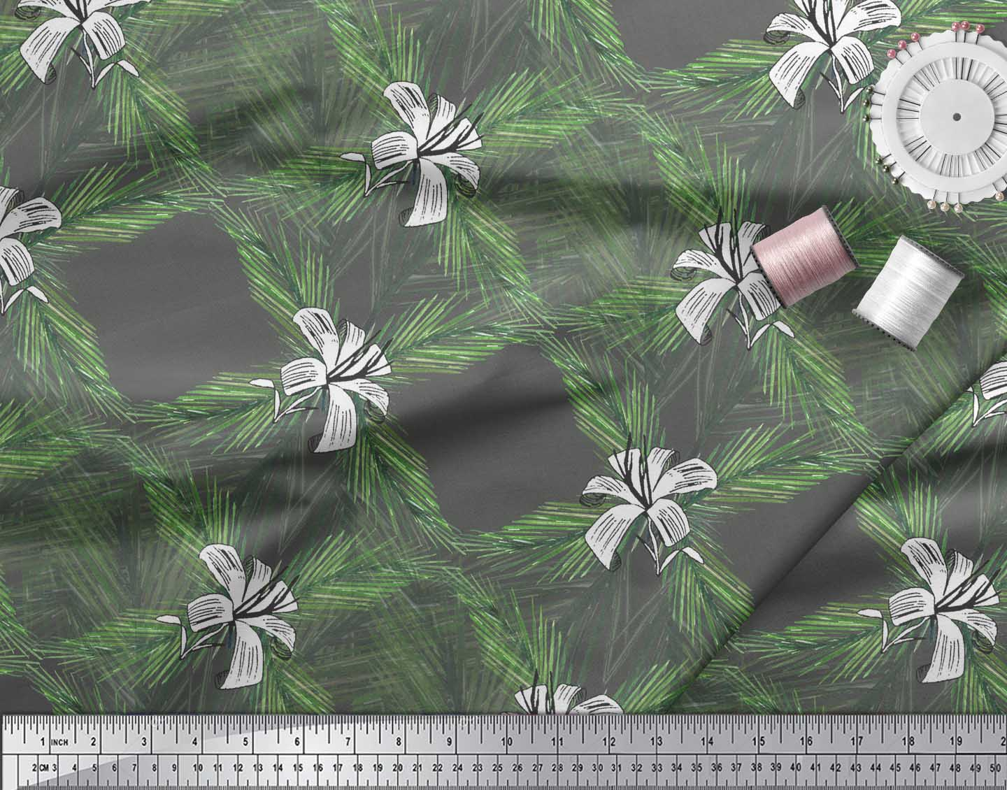 Soimoi-Gray-Cotton-Poplin-Fabric-Pine-amp-Leaves-Printed-Craft-Fabric-27p thumbnail 4