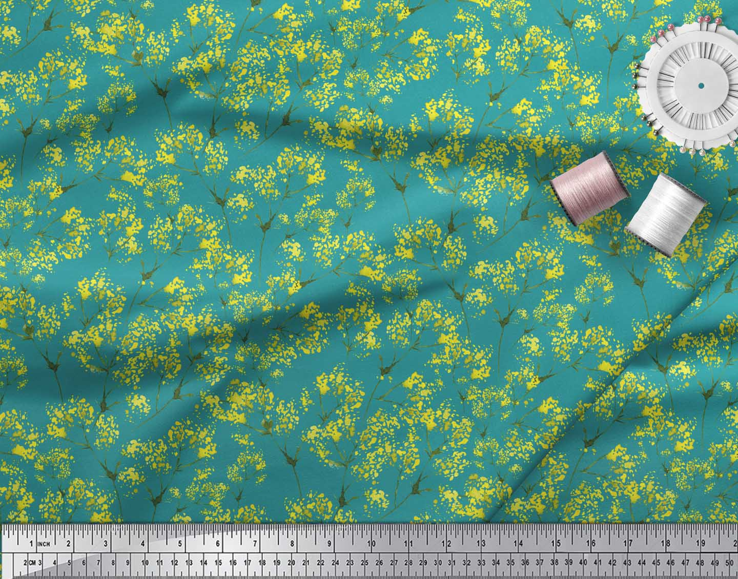 Soimoi-Green-Cotton-Poplin-Fabric-Yellow-Mustard-Leaves-Printed-hG2 thumbnail 3