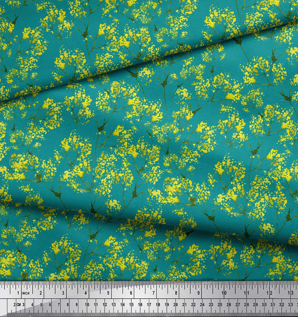 Soimoi-Green-Cotton-Poplin-Fabric-Yellow-Mustard-Leaves-Printed-hG2 thumbnail 4