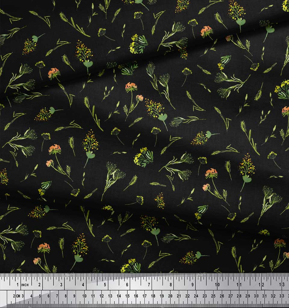 Soimoi-Black-Cotton-Poplin-Fabric-Yellow-Mustard-Leaves-Print-Sewing-Ht7 thumbnail 3