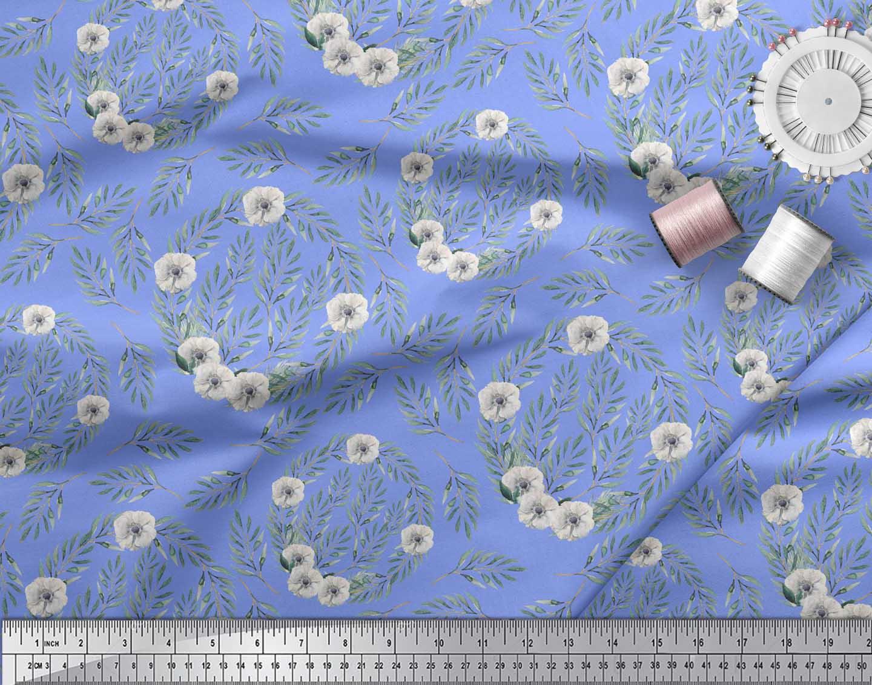 Soimoi-Blue-Cotton-Poplin-Fabric-Anemone-amp-Leaves-Print-Fabric-by-UuX thumbnail 3