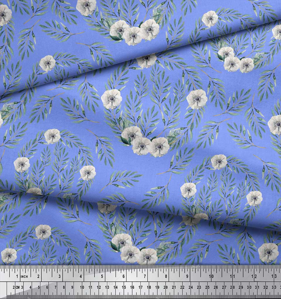 Soimoi-Blue-Cotton-Poplin-Fabric-Anemone-amp-Leaves-Print-Fabric-by-UuX thumbnail 4
