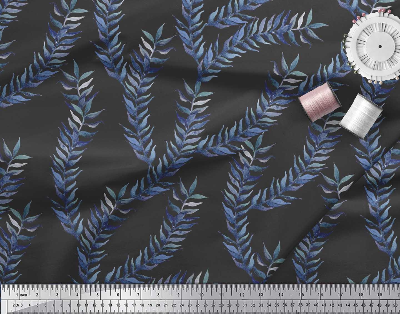 Soimoi-Black-Cotton-Poplin-Fabric-Laurel-Leaves-Print-Fabric-by-m5z thumbnail 3