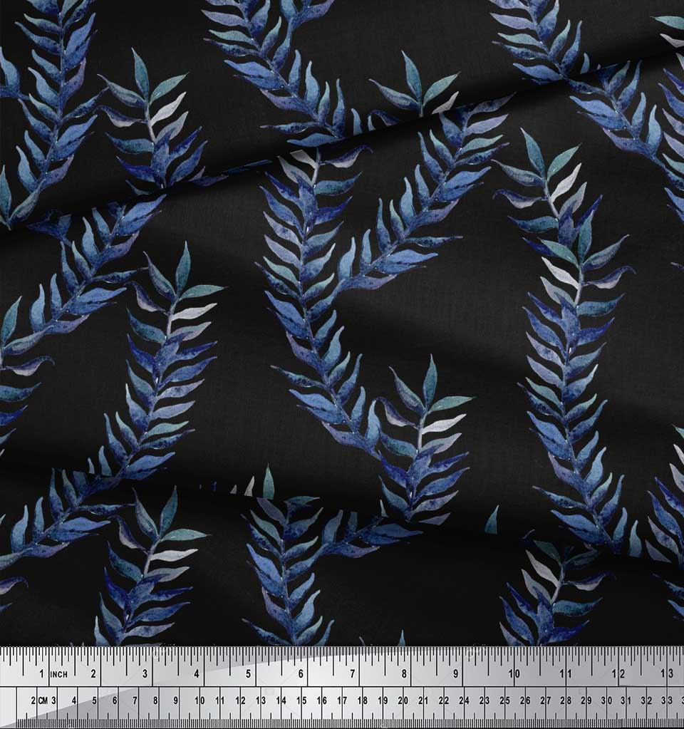 Soimoi-Black-Cotton-Poplin-Fabric-Laurel-Leaves-Print-Fabric-by-m5z thumbnail 4