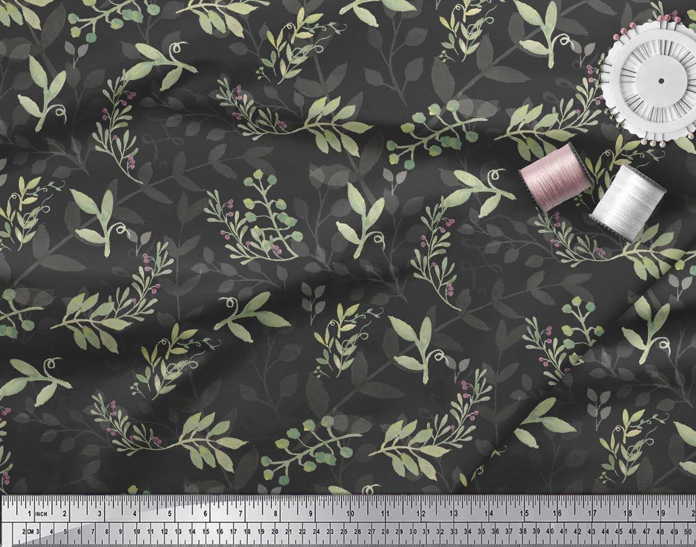 Soimoi-Black-Cotton-Poplin-Fabric-Berries-Leaves-Printed-Craft-Fabric-fXw thumbnail 3
