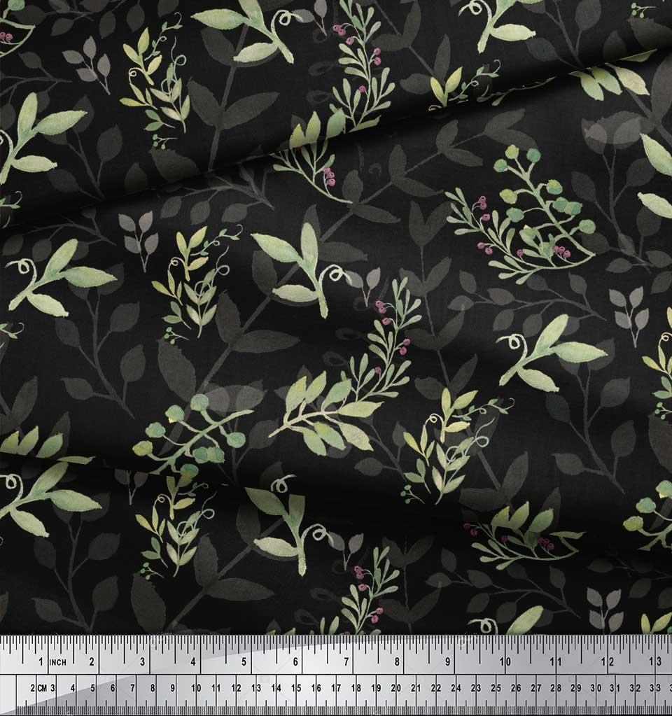 Soimoi-Black-Cotton-Poplin-Fabric-Berries-Leaves-Printed-Craft-Fabric-fXw thumbnail 4