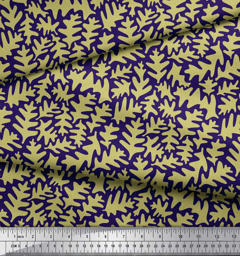 Soimoi-Blue-Cotton-Poplin-Fabric-Leaves-Leaves-Print-Fabric-by-the-qzJ thumbnail 3