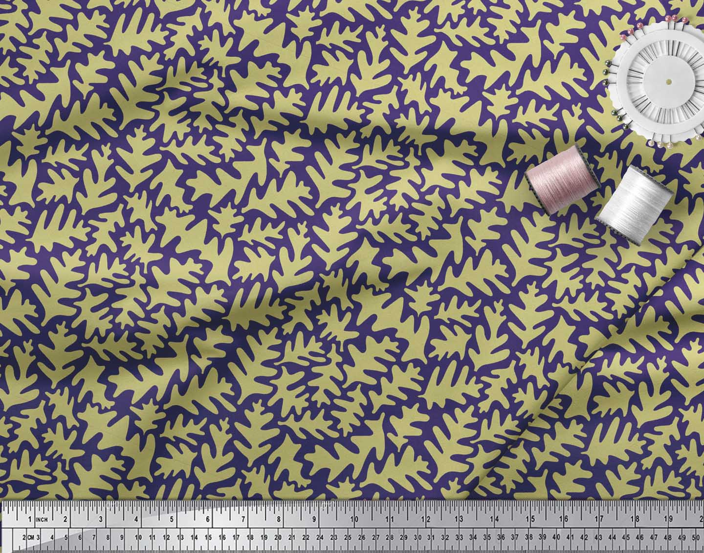 Soimoi-Blue-Cotton-Poplin-Fabric-Leaves-Leaves-Print-Fabric-by-the-qzJ thumbnail 4