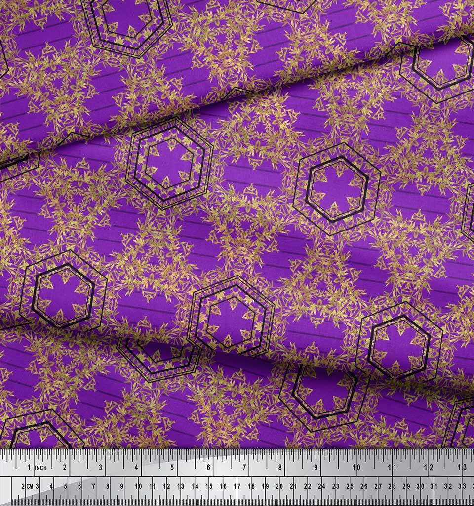 Soimoi-Purple-Cotton-Poplin-Fabric-Buds-amp-Tiny-Leaves-Print-Fabric-Dvq thumbnail 3