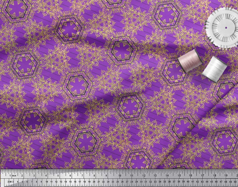 Soimoi-Purple-Cotton-Poplin-Fabric-Buds-amp-Tiny-Leaves-Print-Fabric-Dvq thumbnail 4