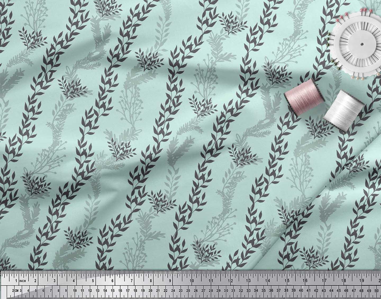 Soimoi-Green-Cotton-Poplin-Fabric-Stencil-Leaves-Printed-Craft-Fabric-hvY thumbnail 3