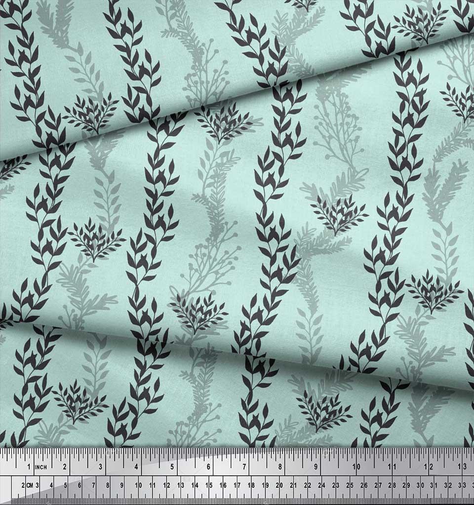 Soimoi-Green-Cotton-Poplin-Fabric-Stencil-Leaves-Printed-Craft-Fabric-hvY thumbnail 4