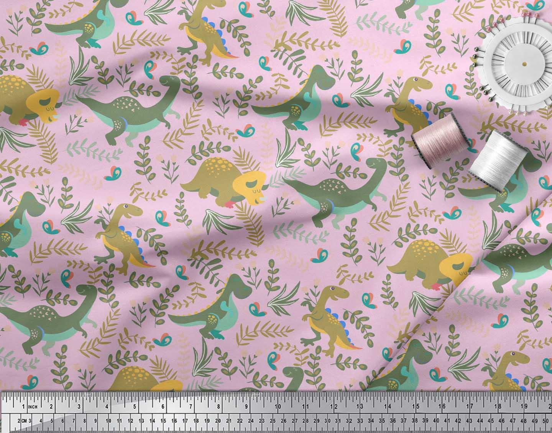 Soimoi-Pink-Cotton-Poplin-Fabric-Dinosaur-amp-Redwood-Leaves-Print-kgy thumbnail 3