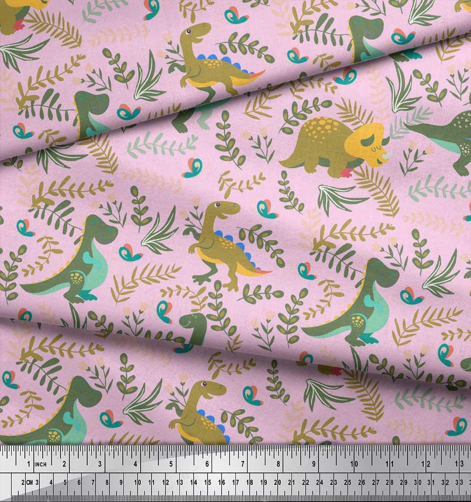 Soimoi-Pink-Cotton-Poplin-Fabric-Dinosaur-amp-Redwood-Leaves-Print-kgy thumbnail 4