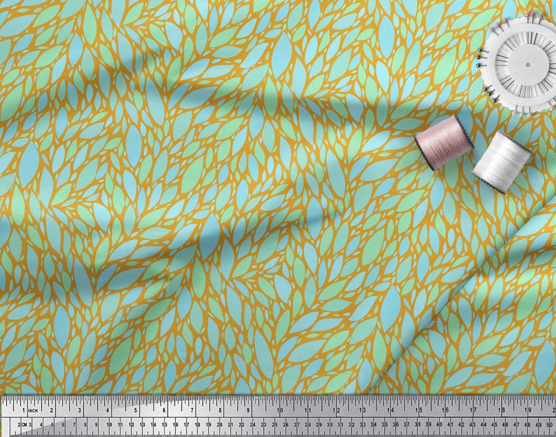 Soimoi-Gold-Cotton-Poplin-Fabric-Leaves-Leaves-Fabric-Prints-By-jzP thumbnail 4