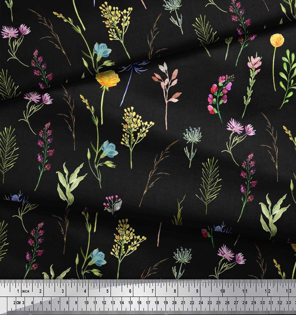 Soimoi-Black-Cotton-Poplin-Fabric-Wildflower-amp-Leaves-Print-Fabric-2ty thumbnail 3