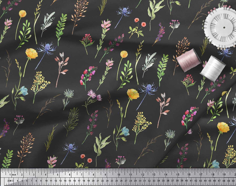 Soimoi-Black-Cotton-Poplin-Fabric-Wildflower-amp-Leaves-Print-Fabric-2ty thumbnail 4