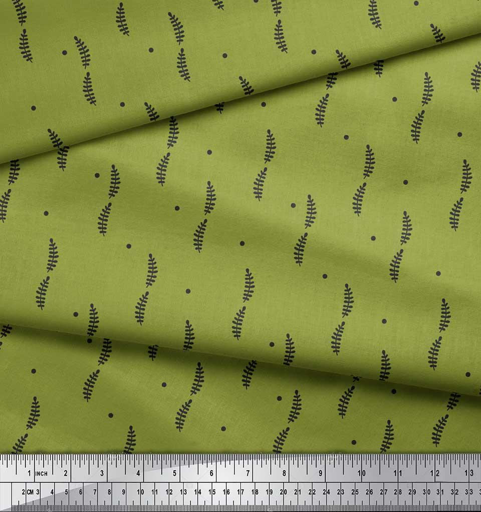 Soimoi-Green-Cotton-Poplin-Fabric-Dots-amp-Tamarind-Leaves-Fabric-Ehg thumbnail 3