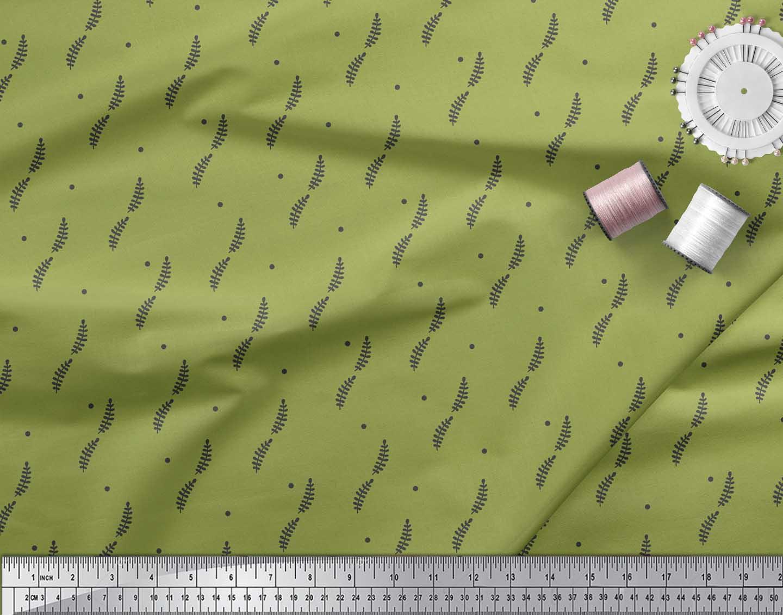 Soimoi-Green-Cotton-Poplin-Fabric-Dots-amp-Tamarind-Leaves-Fabric-Ehg thumbnail 4