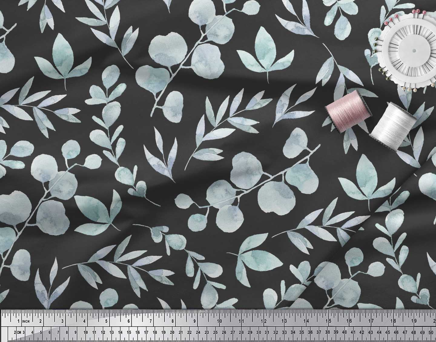 Soimoi-Black-Cotton-Poplin-Fabric-Flower-Leaves-Printed-Craft-Fabric-1LM thumbnail 3