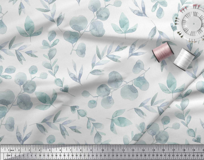Soimoi-White-Cotton-Poplin-Fabric-Flower-Leaves-Print-Fabric-by-ozp thumbnail 3