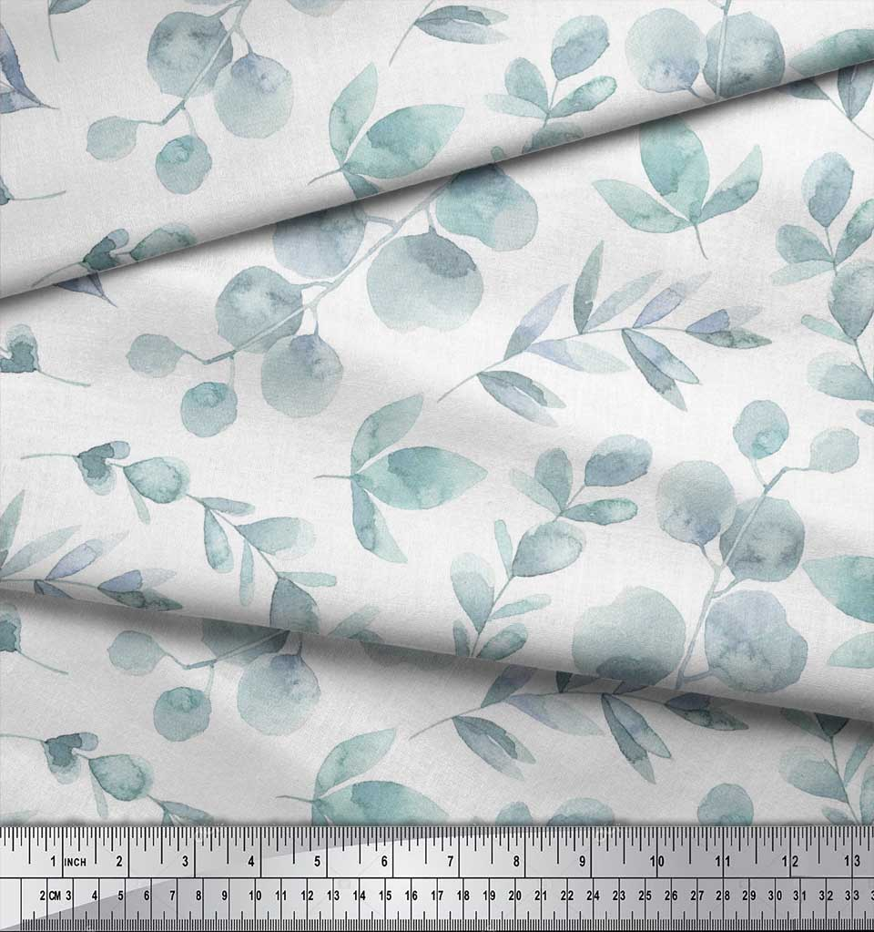 Soimoi-White-Cotton-Poplin-Fabric-Flower-Leaves-Print-Fabric-by-ozp thumbnail 4